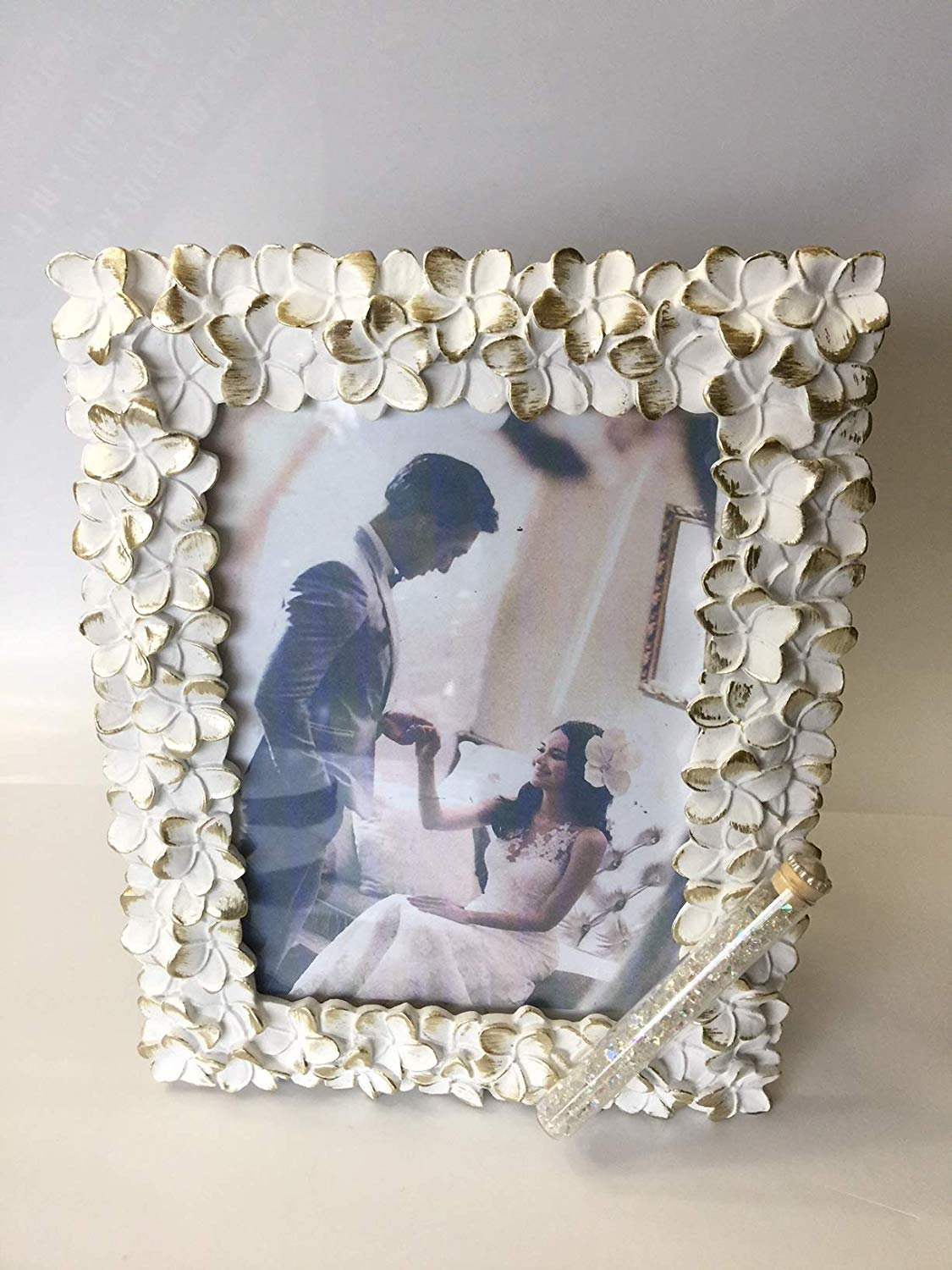 Jewish Wedding White With a touch of Gold Flowers Photo Picture Frame With a Container for Broken Wedding Glass, 5 x 7 Picture Bridal Shower Or Wedding Gift