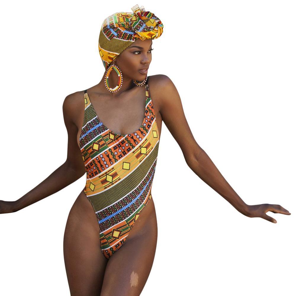 1244f2b37266b S-2XL Plus size Sexy Swimwear Classic African Print Padded One Piece  Swimwear One Piece Swimsuit Zipper Geometric Beach Wear