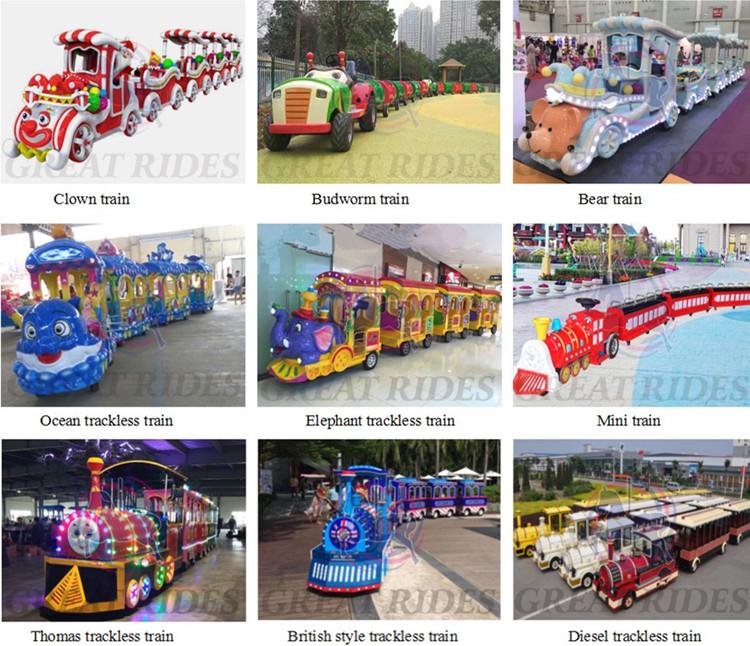 Profitable คลาสสิก amusement park rides ocean สไตล์ 14 จุดไฟฟ้า trackless ท่องเที่ยวรถไฟสำหรับขาย