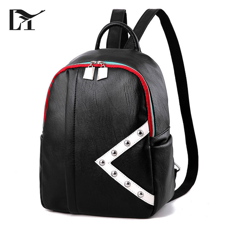 New Model Classic backpack Studded White And Black Women Quality Faux Leather Backpack