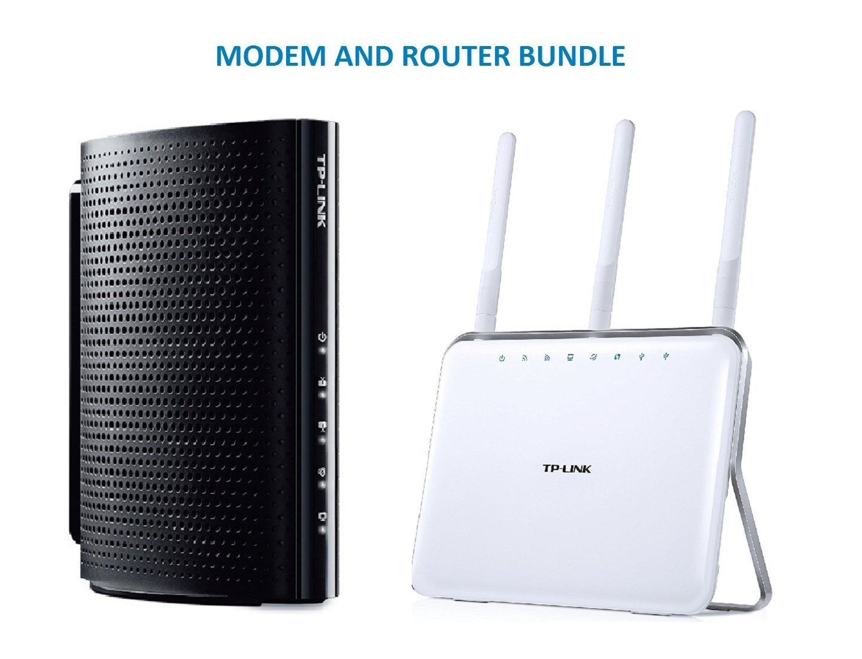 TP-Link DOCSIS 3.0 (8x4) High Speed Cable Modem (TC-7610) and TP-Link AC1900 Wireless Long Range Wi-Fi Gigabit Router (Archer C9) Bundle Kit - Comcast, TWC, Cox Cable, Brighthouse Compartible