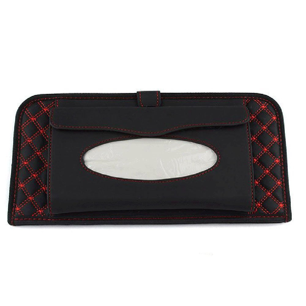 Daycount CD Visor Organizer, Car Sun Visor Tissue Bag Multi Function Double-deck Auto Extra Car Vehicle Pocket Car Interior Accessories (Red)