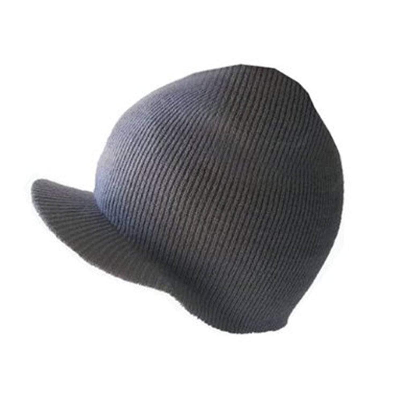 4aabd83d73f Get Quotations · NEW CUFFLESS GREY Beanie Visor Skull Cap HAT USA