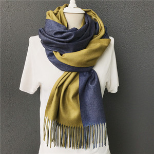 Yellow blue color cashmere thick scarves shawls fashion scarf winter for women