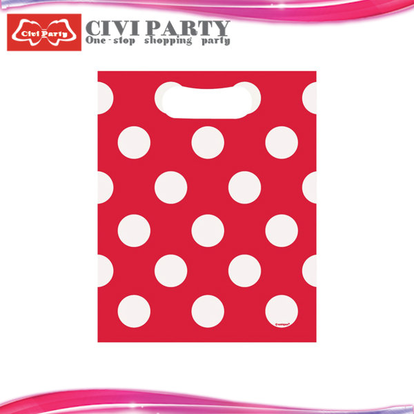 red polka dot plastic gift bags wholesale