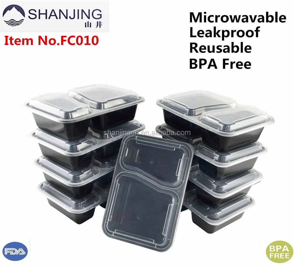 2 Kompartemen Plastik Wadah Penyimpanan Makanan Kotak Makan Siang Cd Set Pack Of 10