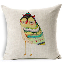 2015 China factory direct supply alibaba 100% cotton and linen selling well fashion super soft owl cushion for leaning on