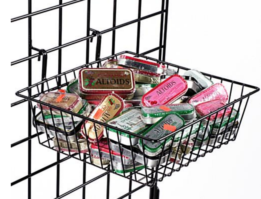 Wire mesh storage baskets for hanging flyer maganize