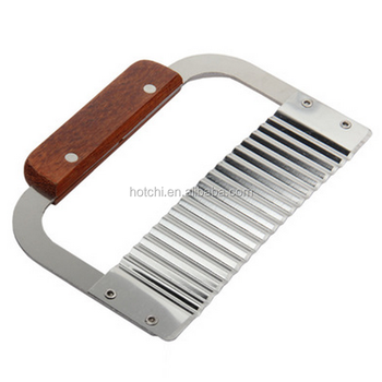 Hot Sale Stainless Steel Crinkle Cutter With Wooden Handle