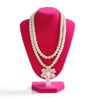 Top grade pink velvet necklace display stand jewelry train holder