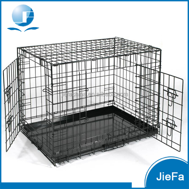 folding black dog crate abs tray pan 42 in. length double door dog crate