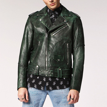 Hot sale green vintage motorcycle biker jackets hombre unisex leather jacket
