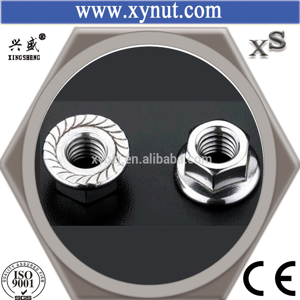 industrial flange nut/industrial hex nylock nut/industrial DIN6923 hex flange nuts with flange