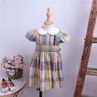 baby smocked dress girl dress yellow plaid peter pan collar short sleeve cotton children clothes wholesale lots 546