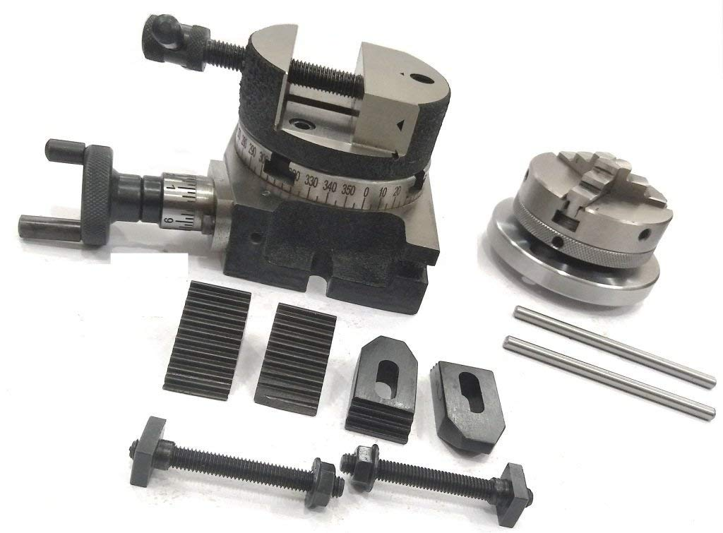 """ER16 COLLET 3/"""" ROTARY TABLE M6 CLAMP KIT,ROUND VICE,TAILSTOCK /& 65 MM CHUCK"""