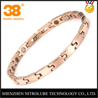Fashion vogue korea jewelry 3 in 1bio energy 99.999% pure germanium 316L stainless steel rose gold plated bracelet women