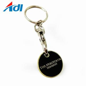 Wholesale cheap coin key ring trolley token metal holder keychain with logo