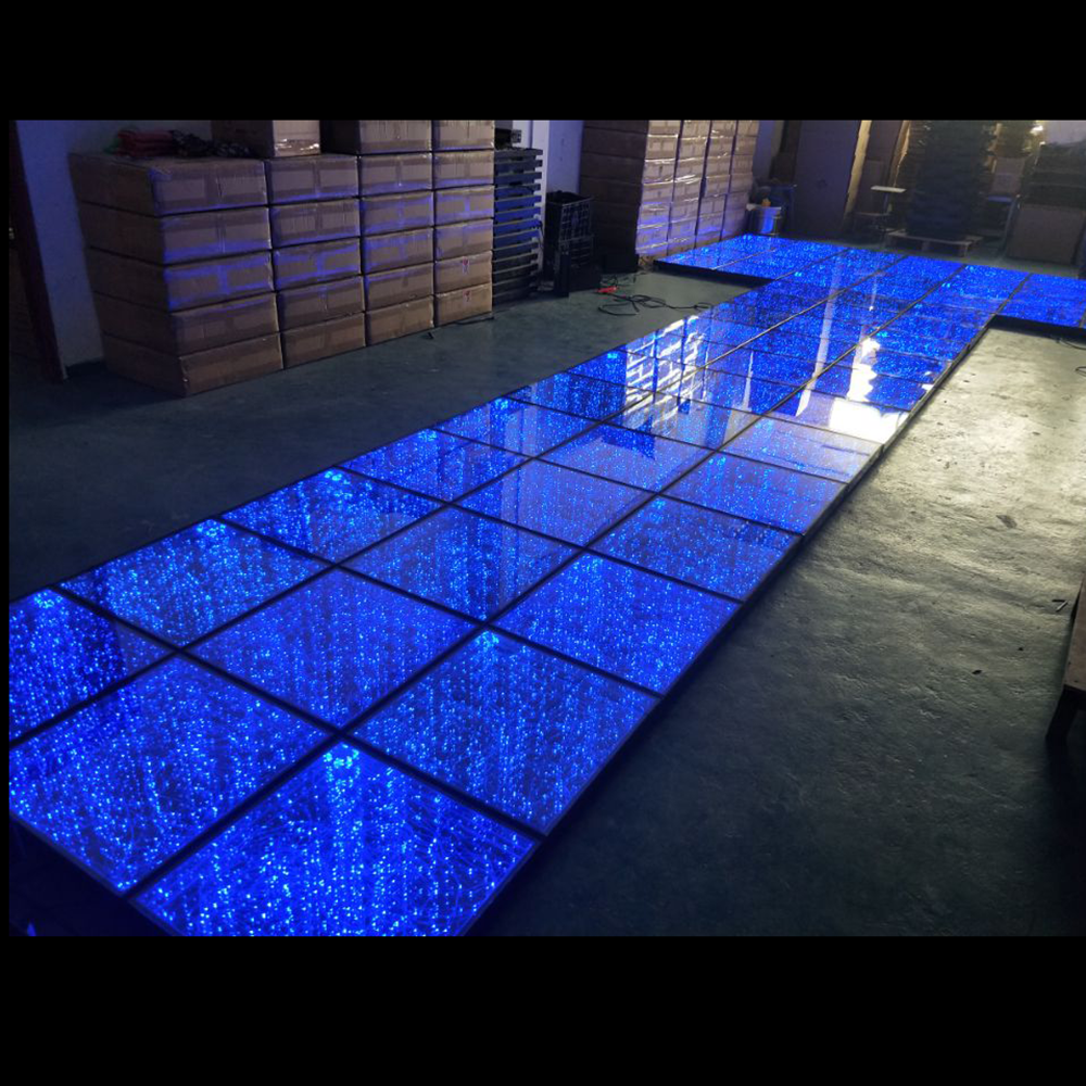 tempered glass mirrored infinity stage floor lights outdoor disco wedding party spark effect digital led dance floor