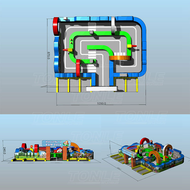 Fun City Inflatable race Track for Circuit City Cars Race