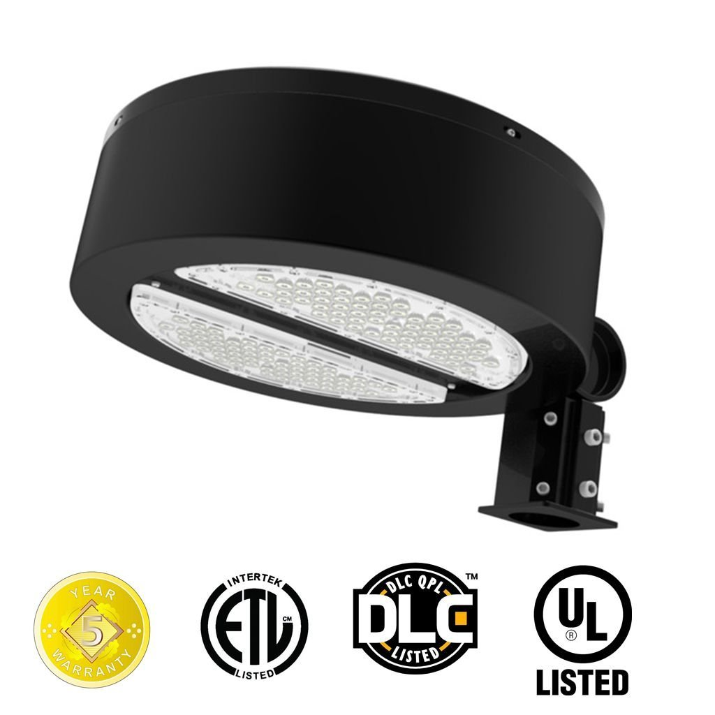 Docheer Round 30W LED Shoebox Pole Light LED Parking Lot Flood Light Fixture,3300 Lumens, 5300K Daylight White, Outdoor Street Area Light Road light