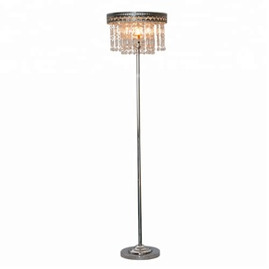 Acrylic hanging bead shade chrome plating metal floor lamp