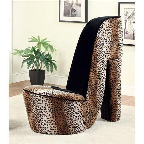 Get Quotations · Mwave IDF AC6807LP L Zahair Leopard Print Novelty Chair,  Material: Wood,