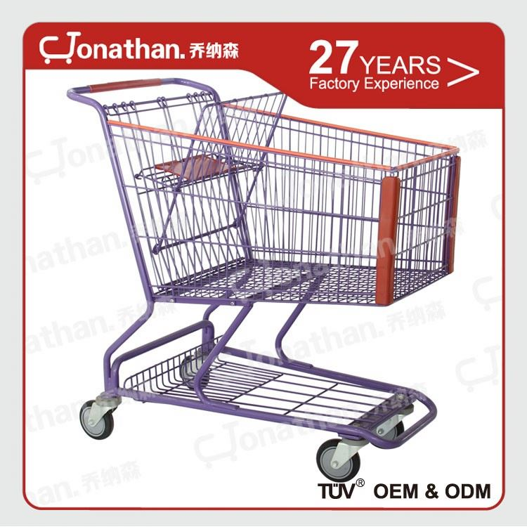 180L cheap price movable hand push shopping carts for kids