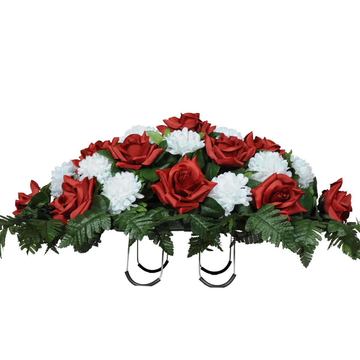 Cheap easy flowers find easy flowers deals on line at alibaba get quotations sympathy silks artificial cemetery flowers saddle arrangement red roses white carnations silk fake izmirmasajfo
