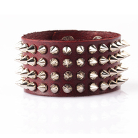 Wholesale design for women and man jewelry european fashion cheap punk style rivets red PU leather bracelet