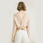 Fashion Korea design knitted woolen champagne sweater knot sexy ladies backless sweater