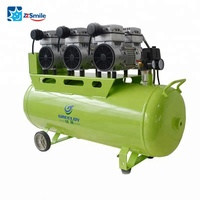 GA-83 3Hp Dental Air Compressor/Piston Type 2400W 90L Silent Oil Free Aircompressor Supporting 6 Dental Chairs