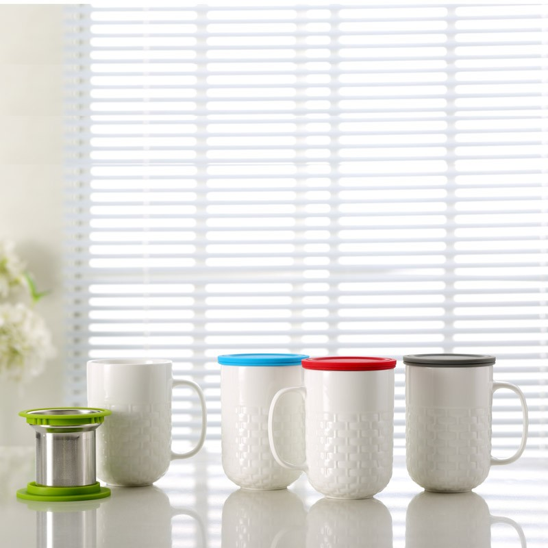 Cheap price personalised reusable high quality 350cc ceramic mug tea infuser cup with silicone lid