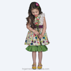 Smart girl clothes set boutique design children's clothing factory in china
