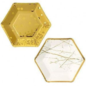 Fancy plate rectangle golden paper plates