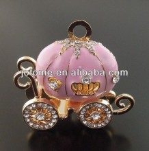 Princess Carriage Pendant - golden and Pink with Rhinestones - Perfect for Chunky Necklaces - Cinderella Inspired Pendants