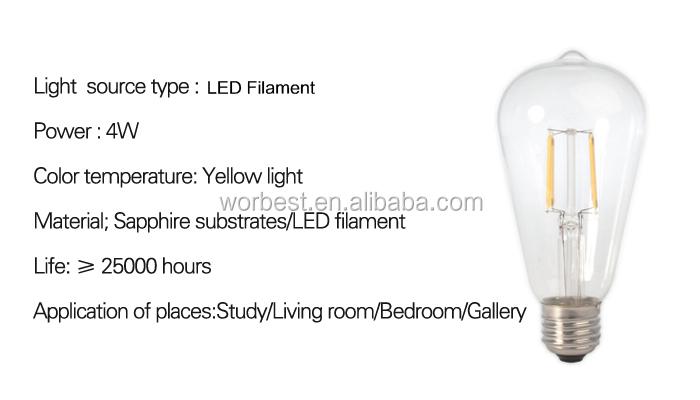 4w Vintage Led Filament Light Bulb,St64 Edison Style,To Replace ...