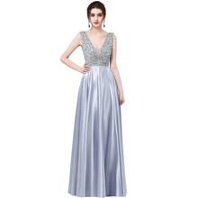 Robe de soiree longue, блестящие длинные королевские синие атласные платья трапециевидной формы для выпускного вечера 2017, Abendkleider, вечернее платье дл...(Китай)