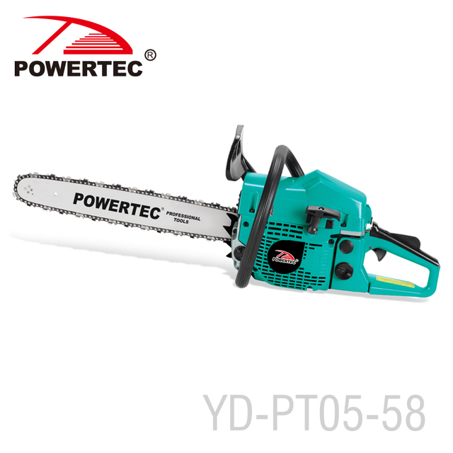 POWERTEC petrol chain saw 5800 wood cutting machine chainsaw