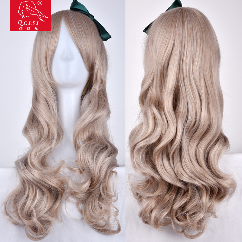 Fashion Women Ladies Party Cosplay Wig Medium Curly Blonde Mixed Natural Wigs