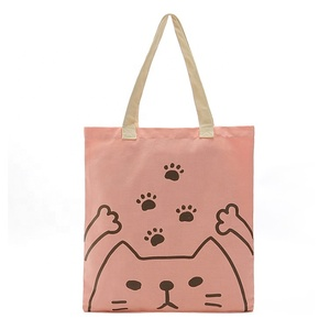 Cute Cat Printing 100% Cotton Canvas Reusable Shopping Tote Bags