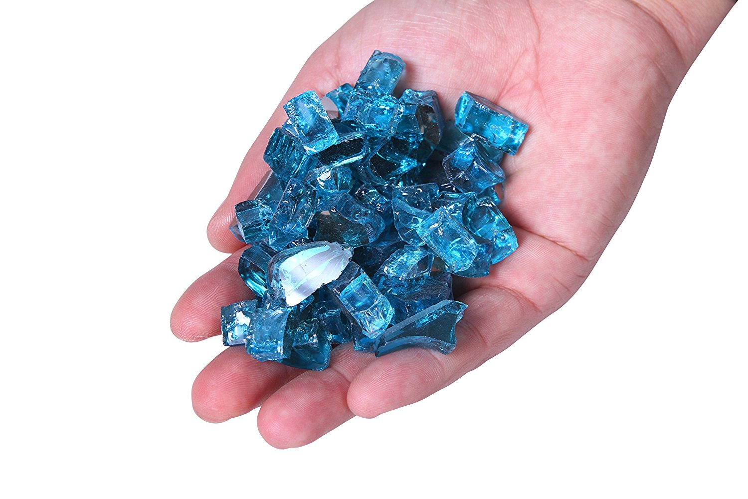 Century Modern Outdoor Fire Glass For Fire Pit,Reflective Tempered Fire Pit Glass For Fireplace,Fire Pit Table & Landscaping | Fire Glass Pebbles/Beads By 10 Pound (1/4), Aque Blue Reflective
