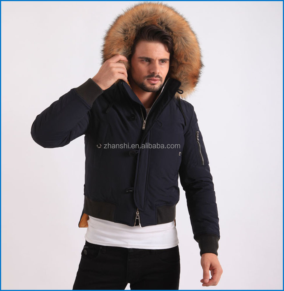 374dd1fc82 Quality Men Short Duck Down   Feather Puffer Coat Jacket with Real Fur  Collar