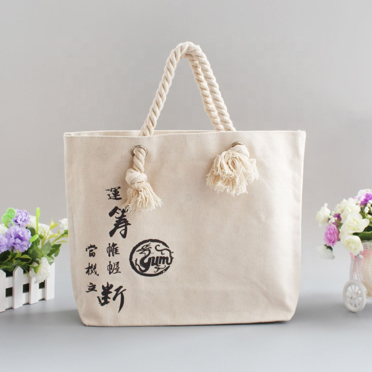 Blank heavy duty 10 unze plain white cotton canvas tote tasche