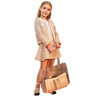 High fashion customize brand name girls tweed dress clothes set