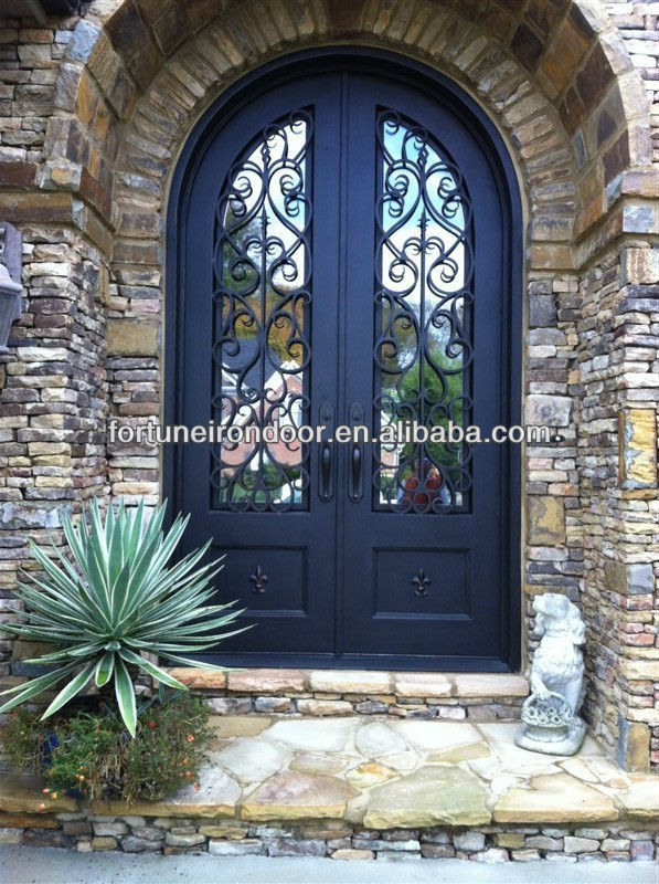 Arch Top Square Top Wrought Iron Entry Door View Arched Entry Door