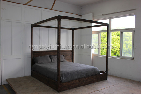 high quality antqiue bedroom furniture recycled wooden four poster bed