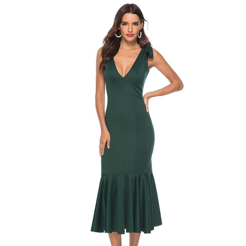 ad045a7b8 Verde de cuello V vestido de noche elegante fiesta Slim volantes cena Sexy  sin respaldo elegante