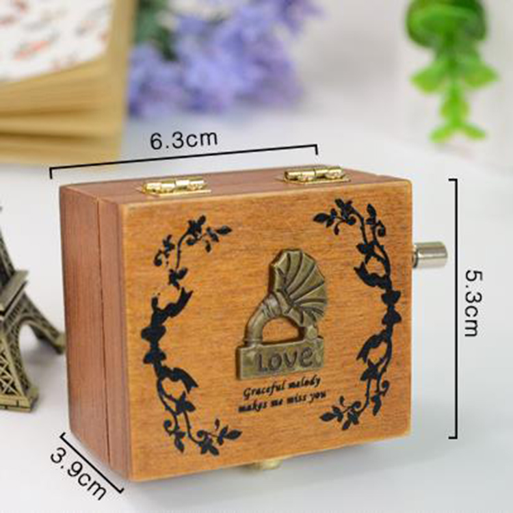 Fashion Decoration Hand Crank Music Box Wooden Retro Mini Gift Music Box