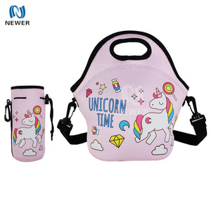 Promotional fashion luxury stylish waterproof freezable insulated custom made neoprene lunch bag with water bottle