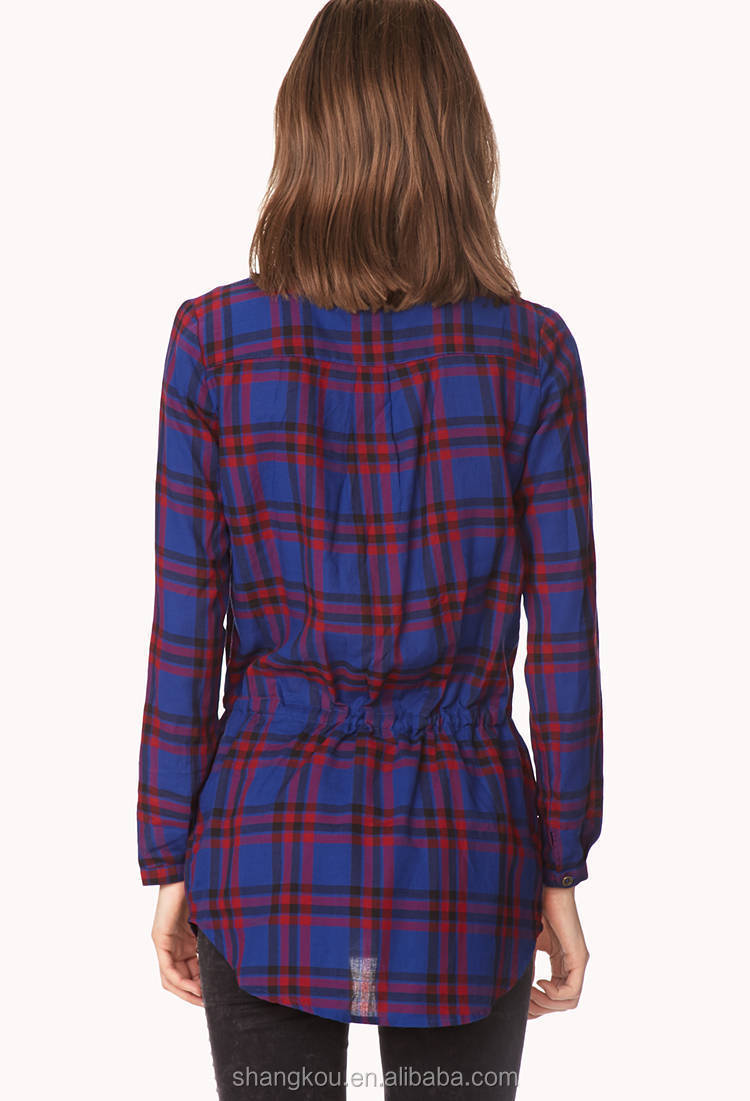 Shirt design china - Long Sleeve Plaid Shirt For Women Women Casual Check Shirt Design Day Off